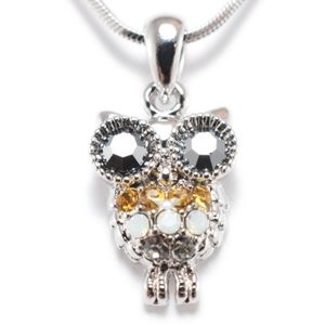 Cute Wise Colourful Crystals Owl Pendant Necklace